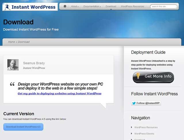 Instant WordPressダウンロード画面